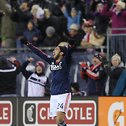 Lee Nguyen, New England Revolution, celebrates at the final whistle during the New England Revolution Vs New York Red Bulls, MLS Eastern Conference Final, second leg. Gillette Stadium, Foxborough, Massachusetts, USA. 29th November 2014. Photo Tim Clayton