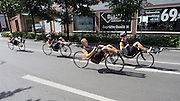 Jan Bos, Wil Baselmans, Alwin Visker en Sebastiaan Bowier (vlnr) zijn onderweg door ten trainingsronde. HPT Delft en Amsterdam is in Senftenberg voor de recordpogingen op de Dekra baan.<br /> <br /> Jan Bos, Wil Baselmans, Alwin Visker and Sebastiaan Bowier are on their way for a training. The Human Power Team Delft and Amsterdam has arrived in Senftenberg (Germany) to break the world record on the one hour time trial at the Dekra test track.