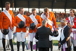 Gold medal, Team Netherlands, Vrieling Jur, Schrofer Gerco, Van der Vleuten Maikel, Dubbeldam Jeroen, Ehrens Rob<br /> Individual competition round 3 and Final Team<br /> FEI European Championships - Aachen 2015<br /> © Hippo Foto - Dirk Caremans<br /> 21/08/15
