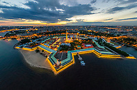 Aerial view of Peter and Paul Fortress, Saint Petersburg at night, Russia.