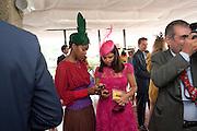 SUSAN BENDER; Daniella Issa Helayel;  , Glorious Goodwood. Ladies Day. 28 July 2011. <br /> <br />  , -DO NOT ARCHIVE-© Copyright Photograph by Dafydd Jones. 248 Clapham Rd. London SW9 0PZ. Tel 0207 820 0771. www.dafjones.com.