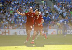 James Milner of Liverpool scores from the spot making it 0-2- Mandatory by-line: Nizaam Jones/JMP - 21/04/2019 -  FOOTBALL - Cardiff City Stadium - Cardiff, Wales -  Cardiff City v Liverpool - Premier League