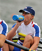 Ottensheim, AUSTRIA. GBR LW4X,  Andrea DENNIS, takes a drink before the start in their morning heat, at the 2008 FISA Senior and Junior Rowing Championships,  Linz/Ottensheim. Tuesday,  22/07/2008.  [Mandatory Credit: Peter SPURRIER, Intersport Images] Rowing Course: Linz/ Ottensheim, Austria