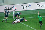 Jonathan DANTY (Stade Francais) scored a try, Yann Lesgourgues (Union Bordeaux-Begles), Marvin O Connor (Stade Francais Paris), Clement Daguin (Stade Francais) during the French championship Top 14 Rugby Union match between Stade Francais Paris and Union Bordeaux-Begles on December 30, 2017 at Jean Bouin stadium in Paris, France - Photo Stephane Allaman / ProSportsImages / DPPI