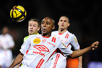 FOOTBALL - FRENCH CHAMPIONSHIP 2010/2011 - L1 - AS NANCY v SM CAEN  - 12/03/2011 - PHOTO GUILLAUME RAMON / DPPI -<br /> THIBAULT MOULIN (CAEN) AND ANDRE LUIZ (NANCY)