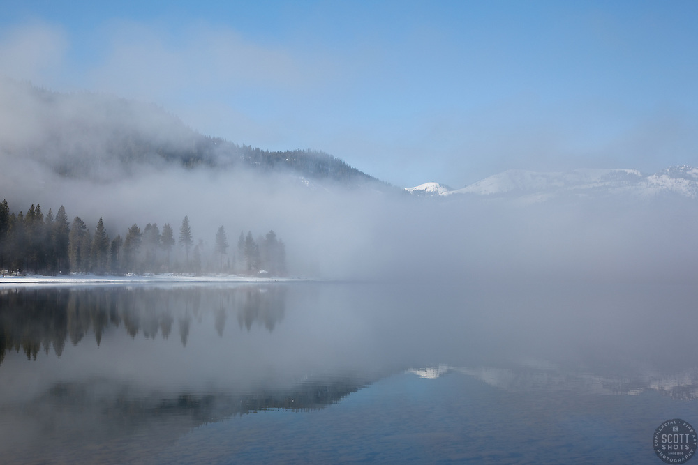 """""""Donner Lake Morning 2"""" - These foggy lake and snow covered mountains were photographed at Donner Lake in Truckee, CA."""