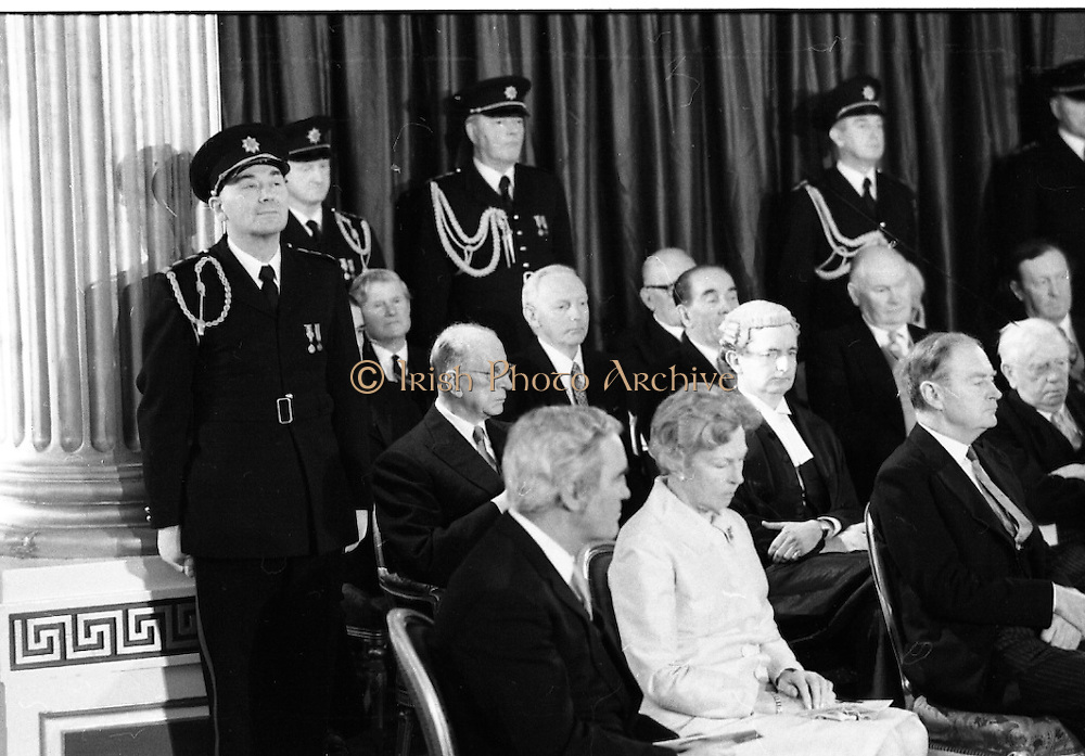 Inaugeration of Cearbhall O'Dalaigh as President  (H77).1974..19.12.1974..12.19.1974..19th December 1974..Following the sudden death of President Erskine Childers, Mr Cearbhall O'Dalaigh was nominated by The Fianna Fail party as its candidate to replace him. The Fine Gael /Labour coalition government did not oppose the nomination and Mr O'Dalaigh was elected un-opposed on a joint party agreement...Mrs Mairin O'Dalaigh is pictured with members of the government and ex-president Devalera at the inaugeration of her husband Cearbhall.