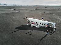 ICELAND - ICELAND - 16 March 2017 : Aerial view of Solheimasandur plane wreck in Iceland.