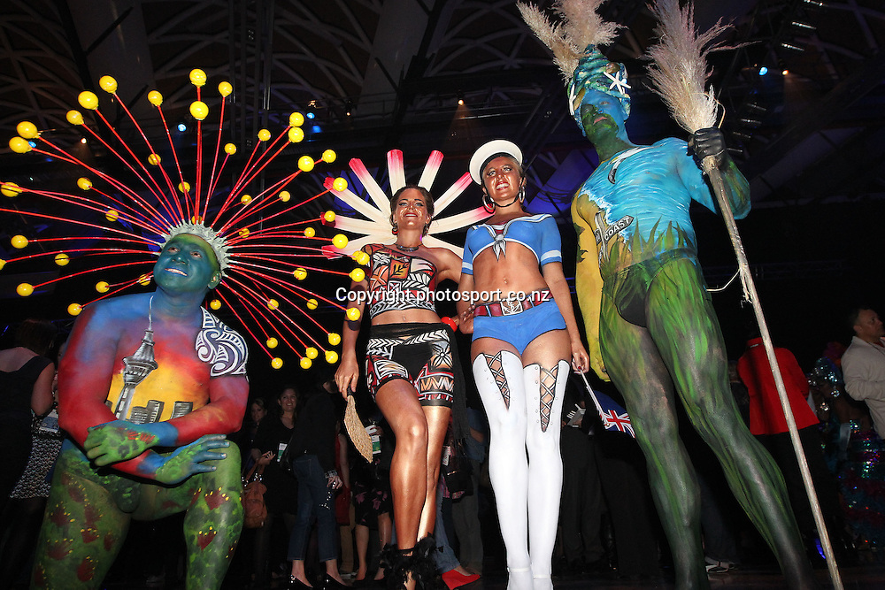 Body art models entertain the crowds during New Zealand's major international tourism trade <br /> show. TRENZ Welcome Function. Viaduct Events Centre, Auckland, New Zealand. Sunday 21 April 2013. Photo: Fiona Goodall / Photosport.co.nz