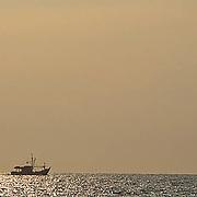 Fisherman on South China Sea near Kota Kinabalu. Malaysia.