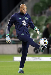 Republic of Ireland goalkeeper Darren Randolph warms up during the 2018 FIFA World Cup Qualifying, Group D match at the Aviva Stadium, Dublin.