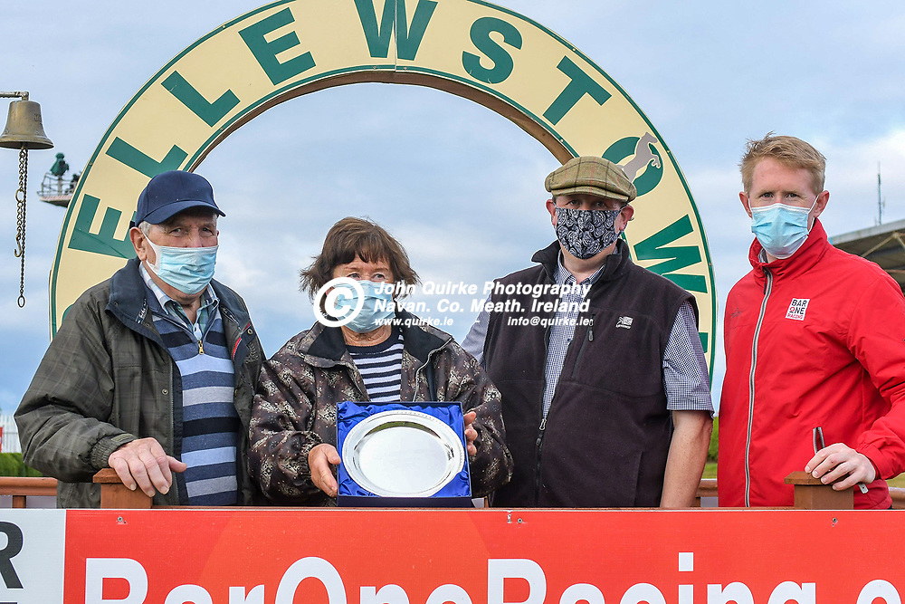 From left: Eamonn Delany, Alma Delany, Alan Delany with John mcDonnell of Bar One Racing after ' Loudest Whisper' won the 'The Bar One Racing `Putting The Customer First` Handicap Hurdle'  at Bellewstown Races.<br /> <br /> Photo: GERRY SHANAHAN-WWW.QUIRKE.IE<br /> <br /> 03-07-2021