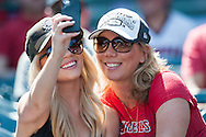 Angel fans snap a selfie during the Angels' preseason game against the Chicago Cubs at Angel Stadium Sunday.<br /> <br /> <br /> ///ADDITIONAL INFO:   <br /> <br /> angels.0404.kjs  ---  Photo by KEVIN SULLIVAN / Orange County Register  --  4/3/16<br /> <br /> The Los Angeles Angels take on the Chicago Cubs at Angel Stadium during a preseason game at Angel Stadium Sunday.<br /> <br /> <br />  4/3/16