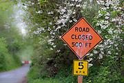 Road closed traffic sign, April, Clallam County, North Olympic Peninsula, Washington, USA