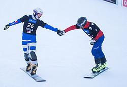 Bormolini Maurizio and Prommegger Andreas during the FIS snowboarding world cup race in Rogla (SI / SLO) | GS on January 20, 2018, in Jasna Ski slope, Rogla, Slovenia. Photo by Urban Meglic / Sportida