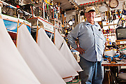 Portrait of Vert Lowe master maker of ship models at his shop on Green Turtle Cay, Bahamas. Master modeler Vert Lowe produces scaled replicas of two-mast schooners and sloops