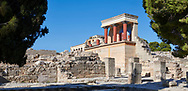 Panorama of Minoan of the North Entrance Propylaeum with its painted charging  bull releif,  Knossos Palace archaeological site, Crete ..<br /> <br /> Visit our GREEK HISTORIC PLACES PHOTO COLLECTIONS for more photos to download or buy as wall art prints https://funkystock.photoshelter.com/gallery-collection/Pictures-Images-of-Greece-Photos-of-Greek-Historic-Landmark-Sites/C0000w6e8OkknEb8 <br /> .<br /> Visit our MINOAN ART PHOTO COLLECTIONS for more photos to download  as wall art prints https://funkystock.photoshelter.com/gallery-collection/Ancient-Minoans-Art-Artefacts-Antiquities-Historic-Places-Pictures-Images-of/C0000ricT2SU_M9w