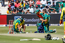 Faf du Plessis of SA after hurting his hand during the 2nd ODI match between South Africa and Australia held at The Wanderers Stadium in Johannesburg, Gauteng, South Africa on the 2nd October  2016<br /> <br /> Photo by Dominic Barnardt/ RealTime Images