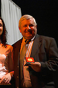 Juan Carlos Marichal of Bodega Marichal winery, Canelones, winemaker, collecting the Uruguay Cata d'Or prize medal Catad'Or of Uruguay, Montevideo, Uruguay, South America
