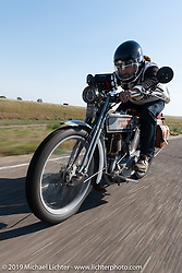 Bret Yeager on his 1914 Harley-Davidson on the Motorcycle Cannonball coast to coast vintage run. Stage 9 (294 miles) from Pierre to Sturgis, SD. Sunday September 16, 2018. Photography ©2018 Michael Lichter.
