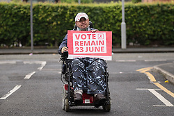 © Licensed to London News Pictures . 10/06/2016 . Manchester , UK . Vote Remain activist in Hulme , Manchester , in support of the Remain campaign , ahead of the UK's EU Referendum . Photo credit : Joel Goodman/LNP