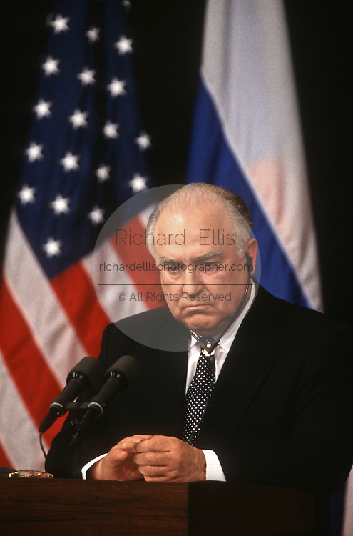 Russian Prime Minister Viktor Chernomyrdin during a joint news conference with VP Al Gore February 7, 1997 In Washington, DC.