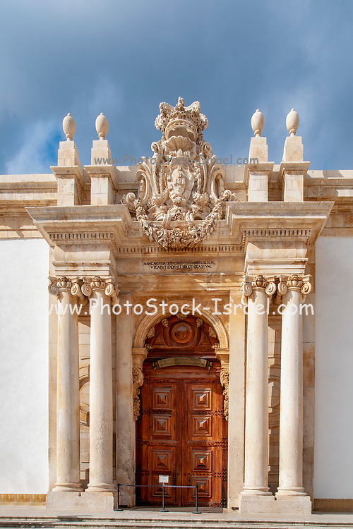 The large wooden doors at the main entrance to the Joanina Library, University of Coimbra, courtyard, Coimbra, Portugal