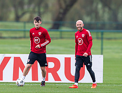 CARDIFF, WALES - Monday, October 5, 2020: Wales' Dylan Levitt (L) and Jonathan Williams (R) during a training session at the Vale Resort ahead of the International Friendly match against England. (Pic by David Rawcliffe/Propaganda)