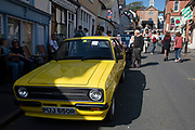 Vintage For Escort Mexico car on show at the annual Michaelmas Fair in the small market town of Bishops Castle, England, United Kingdom.