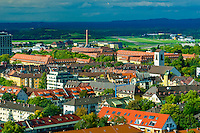 Buildings in Freiburg including the University Hospital in the rear, Baden-Württemberg, Germany