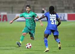 23102018 (Durban) Cape Town City player Allan Kateregga trying to block Amazulu player Marc Van Heerden during the first round of the Telkom Knockout concludes on Tuesday night when Amazulu walloped the MTN8 Cup winners Cape Town City  2-0 at the King Zwelithini stadium, Durban. Amazulu making their way to the quarter finals were they would be playing against Orlando Pirates at the same venue.<br /> Picture: Motshwari Mofokeng/African News Agency (ANA)