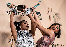 January 29, 2017 - Los Angeles, California, U.S. - 'Hidden Figures' co-stars JANELLE MONAE and TARAJI P. HENSON celebrate in the Press Room during the 23rd Annual Screen Actors Guild Awards, held at The Shrine Expo Hall. (Credit Image: © Watchara Phomicinda/Los Angeles Daily News via ZUMA Wire)