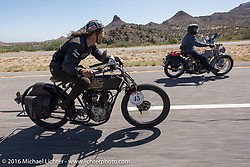 Jon Neuman of Texas on his 1916 Harley-Davidson flies by Jon Szalay of New Jersey on his 1913 Thor during the Motorcycle Cannonball Race of the Century. Stage-13 ride from Williams, AZ to Lake Havasu CIty, AZ. USA. Friday September 23, 2016. Photography ©2016 Michael Lichter.