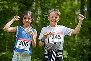 NO FEE PICTURES<br /> 19/5/18 Hundreds of people of all ages lapped up the summer sunshine when they came out to support an important cause which is close to many of their hearts, organ donation, by taking part in the Irish Kidney Association's 'Run for a Life' family fun run which took place at Corkagh Park, Clondalkin, Dublin 22 on Saturday 19th May.   (www.runforalife.ie) Pictured Dean lawless (right) 11, Malahide 2.5 Sibeal Geraghty 7, dublin Picture:Arthur Carron