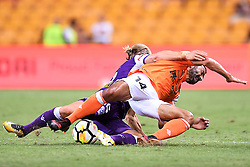 January 18, 2018 - Brisbane, QUEENSLAND, AUSTRALIA - Fahid Ben Khalfallah of the Roar (#14, right) is fouled by  Joseph Mills of the Glory (#16) during the round seventeen Hyundai A-League match between the Brisbane Roar and the Perth Glory at Suncorp Stadium on January 18, 2018 in Brisbane, Australia. (Credit Image: © Albert Perez via ZUMA Wire)