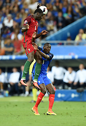 Blaise Matuidi of France battles for the high ball with Eder of Portugal  - Mandatory by-line: Joe Meredith/JMP - 10/07/2016 - FOOTBALL - Stade de France - Saint-Denis, France - Portugal v France - UEFA European Championship Final