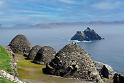 Beehive Hits on Skellig Michael Rock are Old Monastic ruins from the monks who lived on The Skelligs Rocks off the Kerry coast in Southern Ireland.<br /> Picture by Don MacMonagle-macmonagle.com