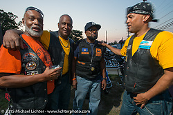 (L>R) Harold (Dogg Pound MC,) Jimmy McQuay, Kendell (President of Banderleros MC) and Woody Davis at the Club meetup at the American Legion in Catonsville, MD with the Flying Eagles MC (founded 1950). USA. August 16, 2015.  Photography ©2015 Michael Lichter.