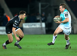 Connacht's Kieran Marmion lines up Ospreys' Owen Watkin<br /> <br /> Photographer Simon King/Replay Images<br /> <br /> Guinness PRO14 Round 19 - Ospreys v Connacht - Friday 6th April 2018 - Liberty Stadium - Swansea<br /> <br /> World Copyright © Replay Images . All rights reserved. info@replayimages.co.uk - http://replayimages.co.uk