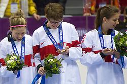 20.02.2014, Bolshoy Ice Dome, Adler, RUS, Sochi, 2014, Eishockey Damen, Medaillenfeier, im Bild Nicole Bullo (SUI), Angela Frautschi (SUI), Sara Benz (SUI) mit der Bronze Medaille an der Medaillenfeier // during Womens Icehockey Medal Ceremony of the Olympic Winter Games Sochi 2014 at the Bolshoy Ice Dome in Adler, Russia on 2014/02/20. EXPA Pictures © 2014, PhotoCredit: EXPA/ Freshfocus/ Urs Lindt<br /> <br /> *****ATTENTION - for AUT, SLO, CRO, SRB, BIH, MAZ only*****