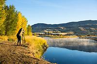 Van camping. John Day River. Central Oregon.
