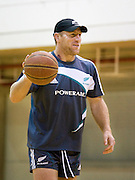 Brad Thorn during a basketball game before the pool session. Rugby - All Blacks pool session at QEII pool, Christchurch. Monday 2 August 2010. Photo: Joseph Johnson/PHOTOSPORT