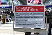 Bus Eireann industrial dispute travel disruption notice at Heuston railway station building, Dublin, Ireland,