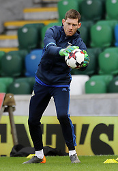 Northern Ireland's Trevor Carson during the training session at Windsor Park, Belfast.