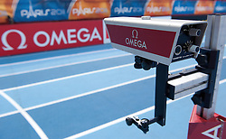 TRACK AND OMEGA TIMING MECHANISM AT BERCY HALL DURING OFFICIAL TRAINING SESSION ONE DAY BEFORE EUROPEAN ATHLETICS INDOOR CHAMPIONSHIPS PARIS 2011...PARIS , FRANCE , MARCH 03, 2011..( PHOTO BY ADAM NURKIEWICZ / MEDIASPORT )..PICTURE ALSO AVAIBLE IN RAW OR TIFF FORMAT ON SPECIAL REQUEST.