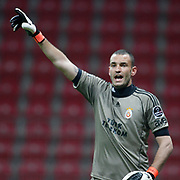 Galatasaray's goalkeeper Ufuk CEYLAN during their Turkish Super League soccer match Galatasaray between Konyaspor at the T T Arena at Seyrantepe in Istanbul Turkey on Sunday, 20 May 2011. Photo by TURKPIX