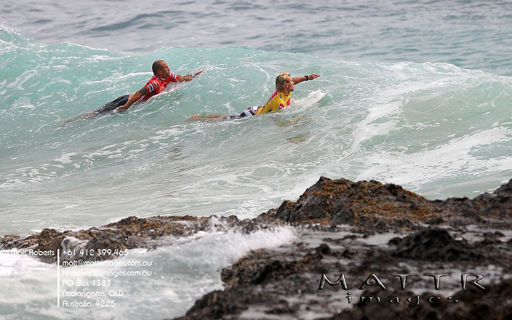 Gold Coast, Australia - February 27: Bobby Martinez and Tanner Gudauskas looking for the bombs behind the rock during round 1 of the Quiksilver Pro Gold Coast 2010 presented by Land Rover at Snapper Rocks on the Gold Coast, February 27, 2010 Photo by Matt Roberts/MATTRimages.com.au