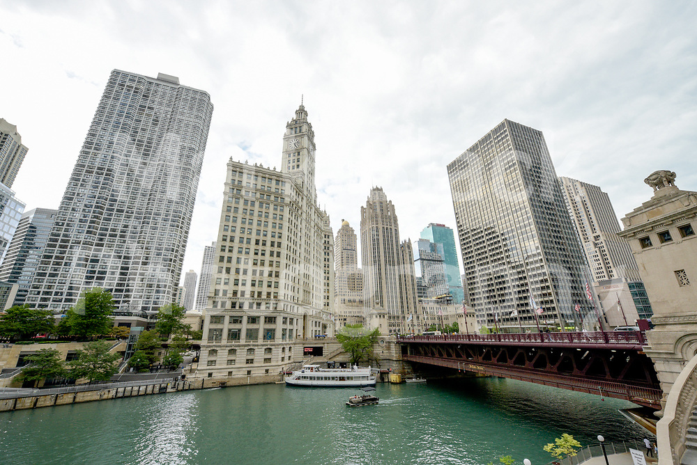 Historic Wrigley Building along the Chicago River in Chicago, Illinois. Photo by Mark Black