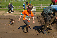 Bodhi, an English 10-year-old participates in a Toughmudder event near Henley-on-Thames on May 5th 2018.