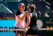 Elise Mertens of Belgium and Simona Halep of Romania during the third round of the Mutua Madrid Open 2021, Masters 1000 tennis tournament on May 4, 2021 at La Caja Magica in Madrid, Spain - Photo Rob Prange / Spain ProSportsImages / DPPI / ProSportsImages / DPPI